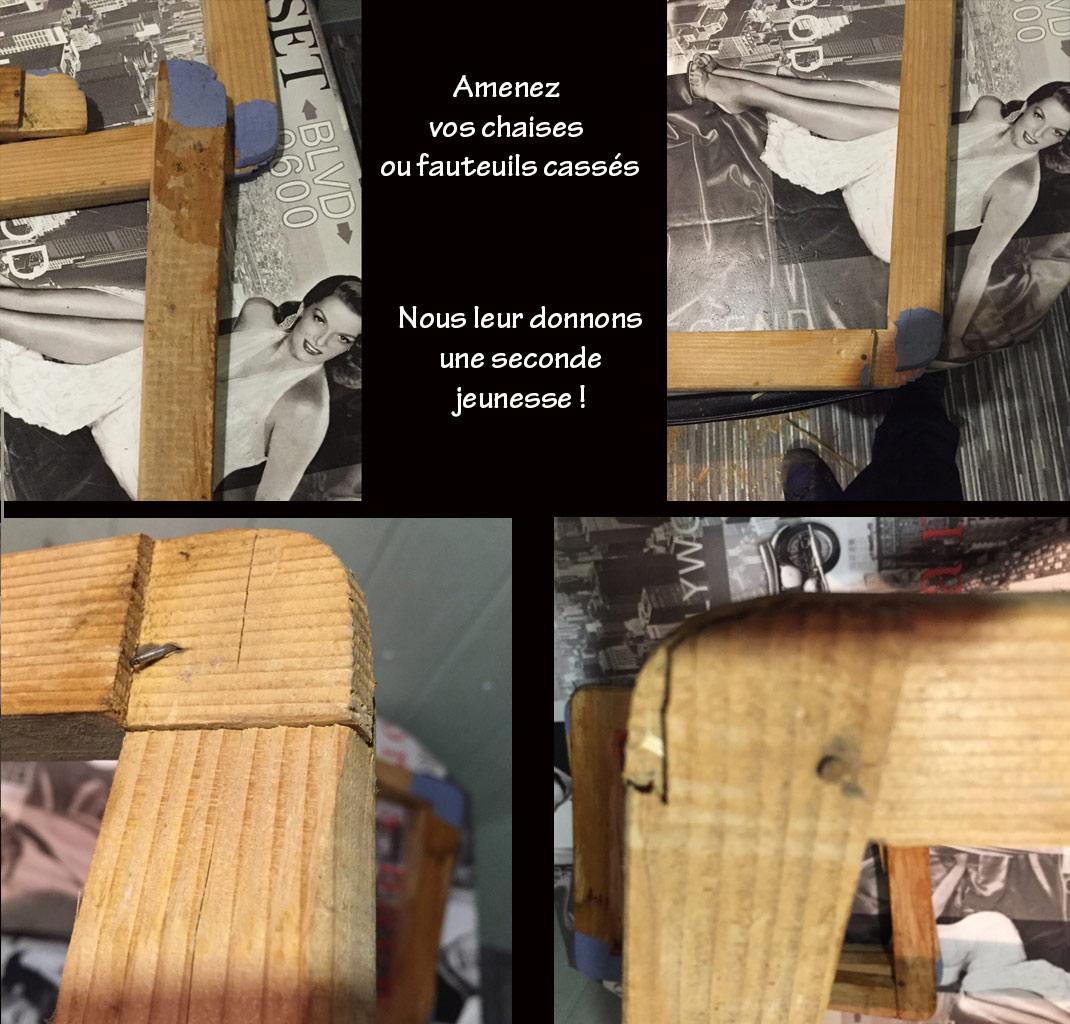 Réparation de chaises, sièges, fauteuils cassés